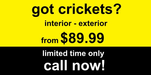 Cricket exterminating - We'll get rid of your crickets fast - Special offer starting at $89.99 - 100% Guaranteed 100% Safe